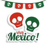Skull icon. Mexico culture. Vector graphic. Mexico culture concept represented by skull icon. Colorfull and flat illustration royalty free stock photos