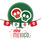 Skull icon. Mexico culture. Vector graphic. Mexico culture concept represented by skull over seal stamp icon. Colorfull and flat illustration stock image