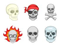 Skull icon set, cartoon style vector illustration