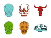 Skull icon set, color outline style vector illustration