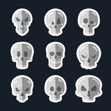 Skull icon set in a flat style. Royalty Free Stock Photo