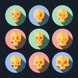 Skull icon set in a flat style. Stock Images