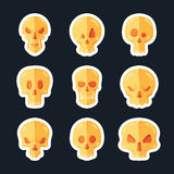 Skull icon set in a flat style. Royalty Free Stock Photography
