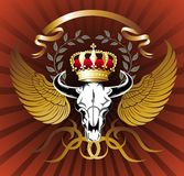 Skull illustration with crown and wings Stock Photography