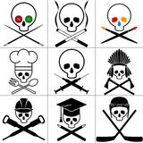 Skull images set. White background. Vector illustrations. Royalty Free Stock Photography