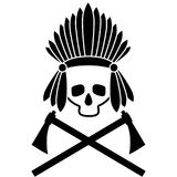 Skull Indian chief. Black and white picture. Icon. Vector Image. Stock Images