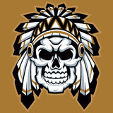 Skull indian chief with feather hat Stock Images