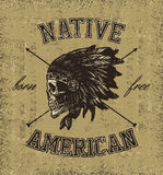 Skull indian chief hand drawing style Royalty Free Stock Image