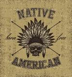 Skull indian chief hand drawing style Stock Photos