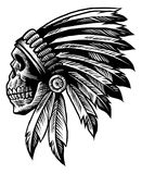 Skull indian chief in hand drawing style Royalty Free Stock Images