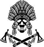 Skull in Indian headdress Stock Photography