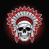 Skull of Indian Native American Warrior Vector