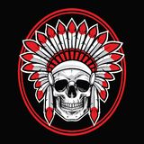 Skull of Indian Native American Warrior Vector With Red Feather Stock Image