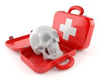 Skull inside first aid kit. Isolated on white background. 3d illustration Stock Image
