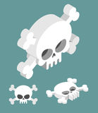 Skull isometric set. Head of skeleton and crossbones Royalty Free Stock Photography