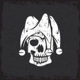 Skull in jester cap grunge vector design Stock Image