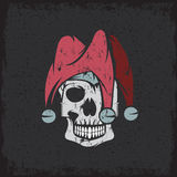 Skull in jester cap grunge vector design Stock Photos