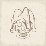 Skull in jester cap grunge vector design Royalty Free Stock Images