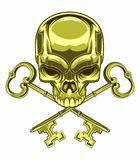 Skull and keys. Vector illustration of golden skull and golden keys Stock Photo