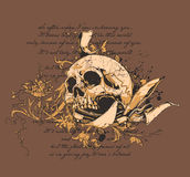 Skull and Knife. T-shirt design Royalty Free Stock Image