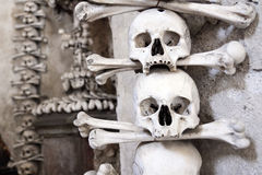 Skull in Kutna Hora ossuary. Czech Republic - UNESCO city Kutna hory - church Sedlec - charnel-house royalty free stock photography