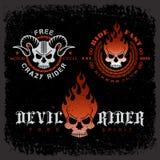 Skull labels. Set of labels with skulls on grunge background for t-shirt print, poster, emblem. Vector illustration Royalty Free Stock Images