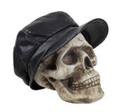 Skull in Leather Driving Cap Stock Photo