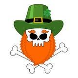Skull leprechaun with red beard. Green Irish cap. St. Patrick`s Royalty Free Stock Photo
