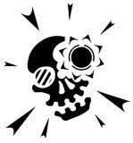 Skull Light Symbol. Skull light black and white vector, vertical,  isolated Stock Photo