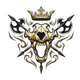 Skull of a lion crown heraldic emblem. Royalty Free Stock Photos