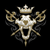 Skull of a lion, crown and weapons. Stock Photos