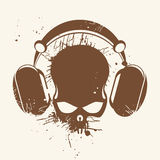 Skull listening to music Stock Images
