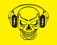 Skull listening to music. Vector illustration, the  on headphones on a yellow background Royalty Free Stock Photos