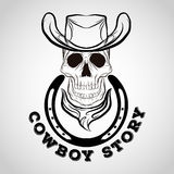 Skull logo, cowboy logo Royalty Free Stock Images