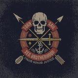 Skull logo in grunge vector illustration