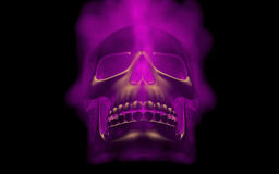 Skull looks up in colorful fire. Demonic sight. Scaring halloween picture.  Stock Photography