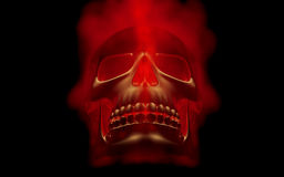 Skull looks up in colorful fire. Demonic sight. Scaring halloween picture.  Stock Image