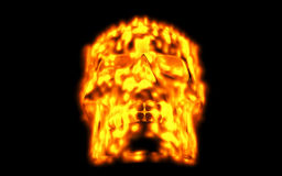 Skull looks up in colorful fire. Demonic sight. Scaring halloween picture.  Royalty Free Stock Photos