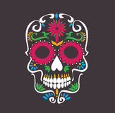 Skull lotus flowers macabre. Skull lotus flowers - macabre skull sugar tattoo style vector illustration stock Royalty Free Stock Photos