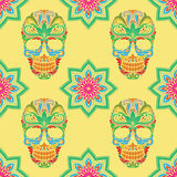 Skull and Lotus Pattern Stock Image