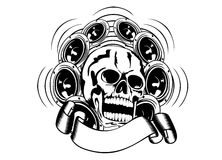 Skull and loudspeakers Royalty Free Stock Image