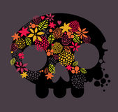 Skull, love and flowers. Royalty Free Stock Photography