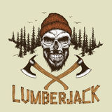 Skull-lumberjack with beard,hat and two axes Stock Images