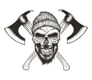 Skull-lumberjack with beard,hat and two axes Stock Photography