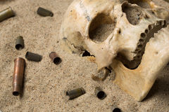 Skull lying in the sand, scattered rifle  Royalty Free Stock Images