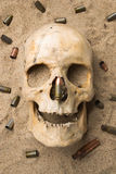 Skull lying in the sand, scattered rifle  Stock Images