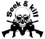SKULL WITH M-16 Royalty Free Stock Photos