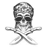 Skull with machete black and white illustration