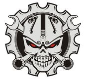 Skull machine and wrench Royalty Free Stock Photo