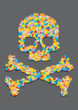 Skull made ​​of a capsule pill Royalty Free Stock Photography